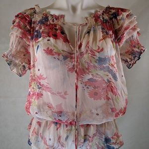 Rampage Pink Floral Ruffled Shirt w/ Ruffled Waist